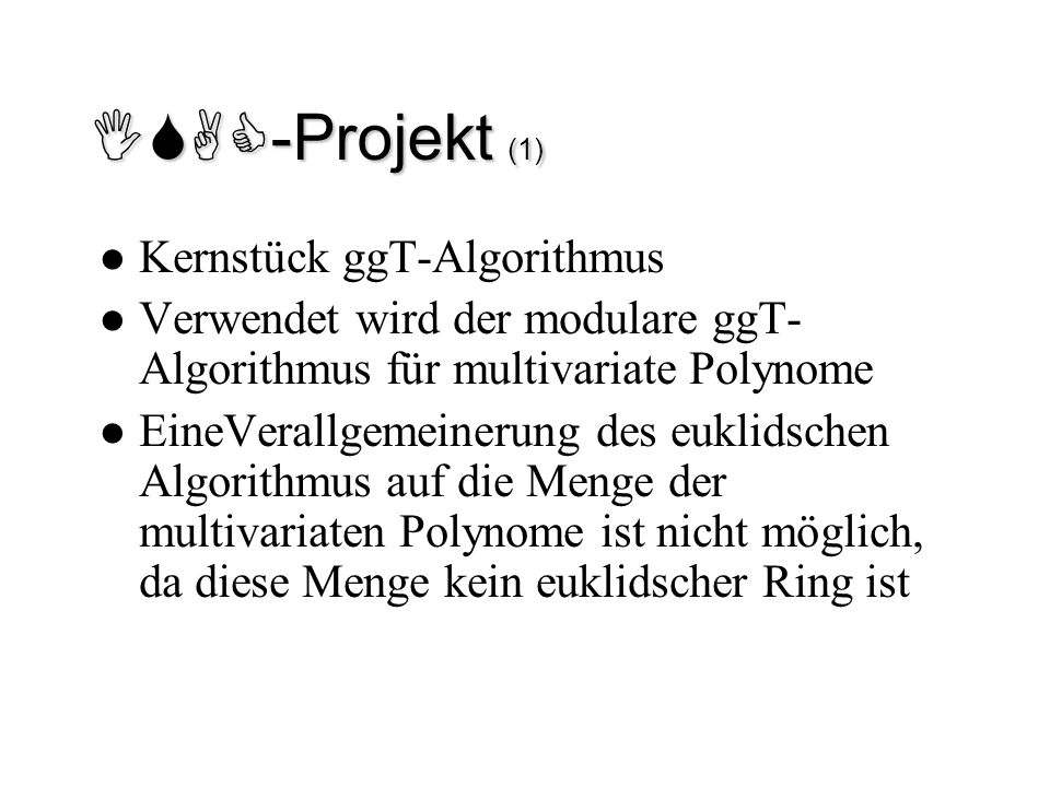 ISAC-Projekt (1) Kernstück ggT-Algorithmus