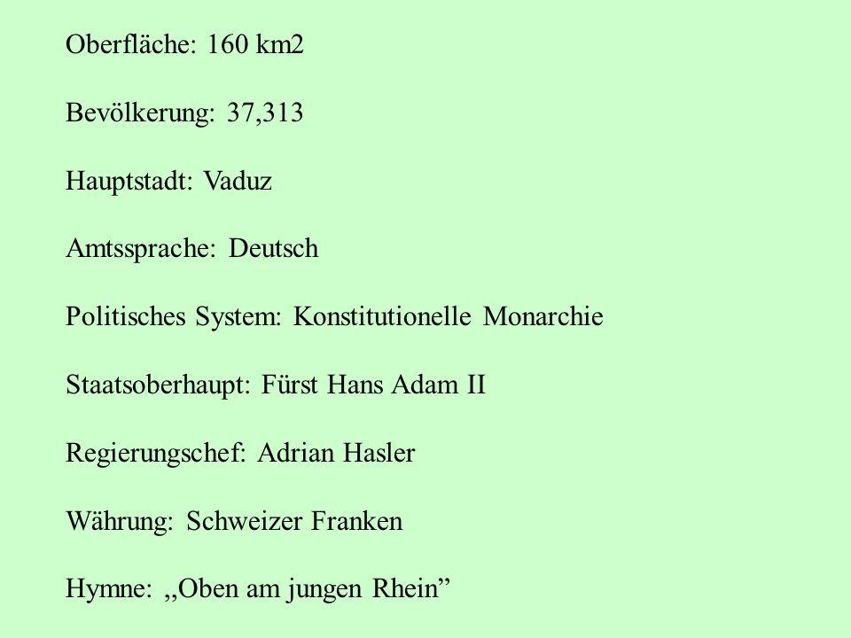 Oberfläche: 160 km2 Bevölkerung: 37,313. Hauptstadt: Vaduz. Amtssprache: Deutsch. Politisches System: Konstitutionelle Monarchie.