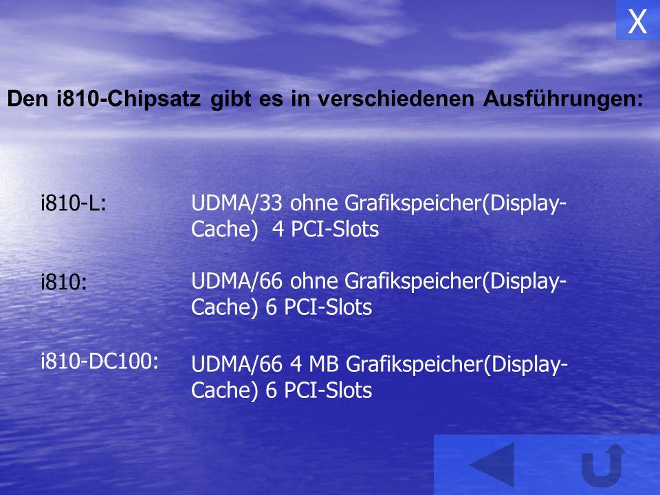 X Den i810-Chipsatz gibt es in verschiedenen Ausführungen: i810-L: