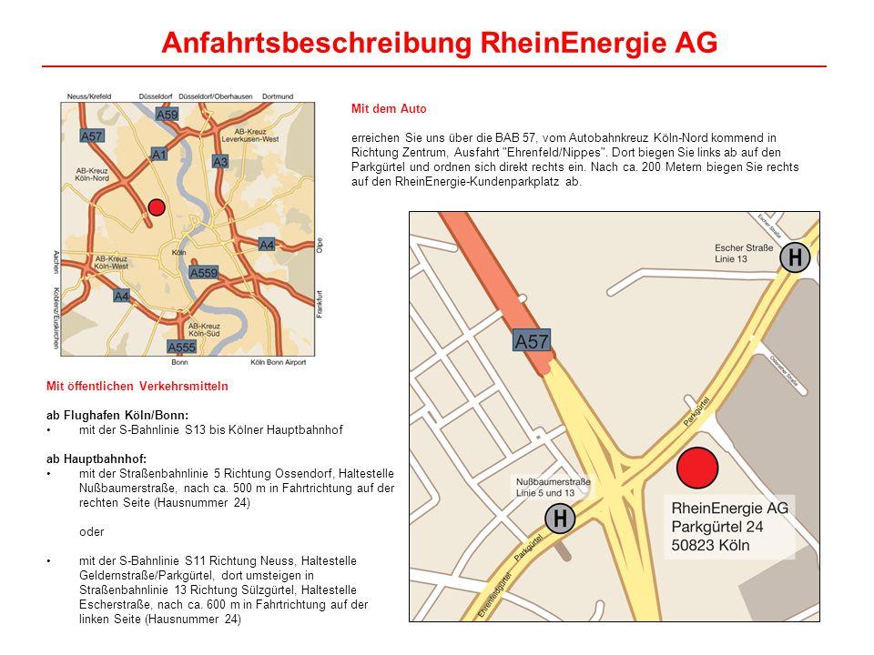 Anfahrtsbeschreibung RheinEnergie AG