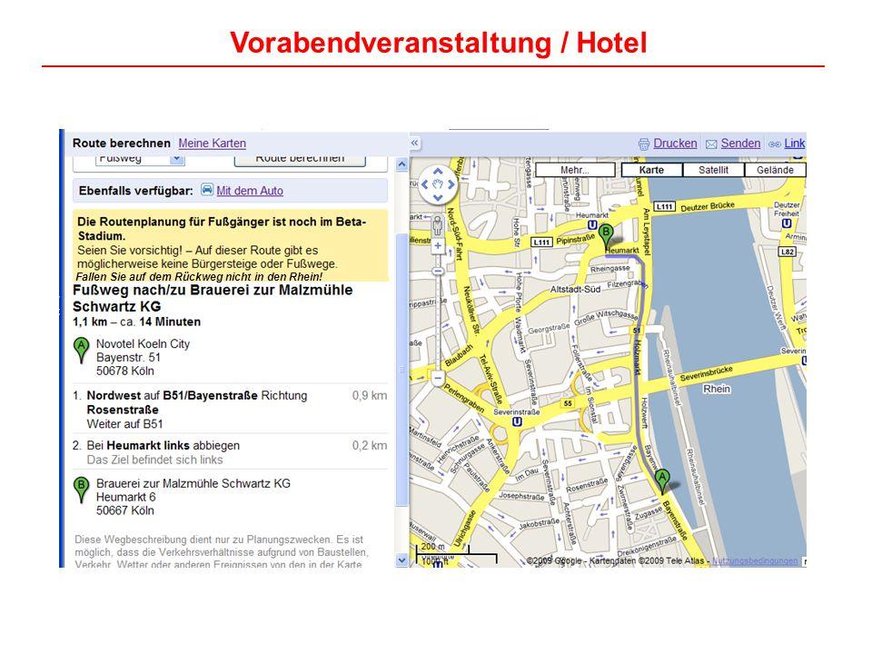 Vorabendveranstaltung / Hotel