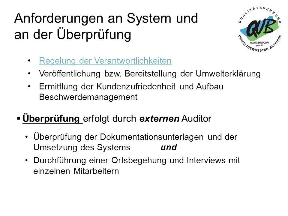 Anforderungen an System und an der Überprüfung