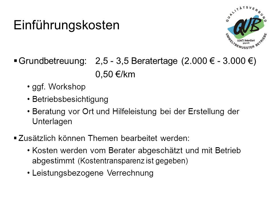 Einführungskosten Grundbetreuung: 2,5 - 3,5 Beratertage (2.000 € - 3.000 €) 0,50 €/km. ggf. Workshop.