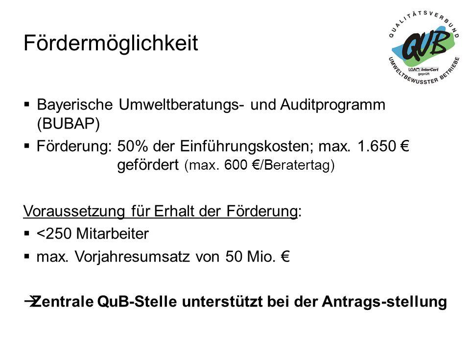 Fördermöglichkeit Bayerische Umweltberatungs- und Auditprogramm (BUBAP)