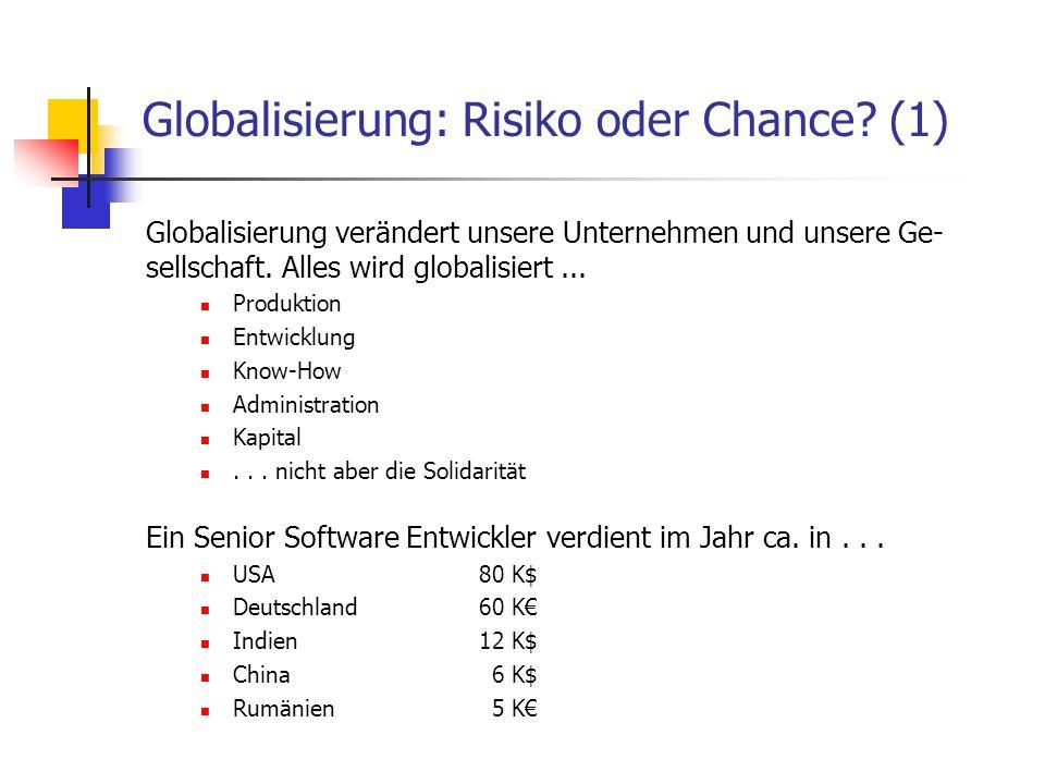 Globalisierung: Risiko oder Chance (1)