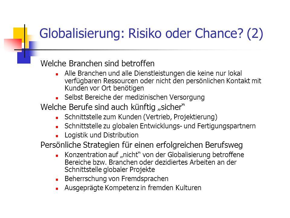 Globalisierung: Risiko oder Chance (2)