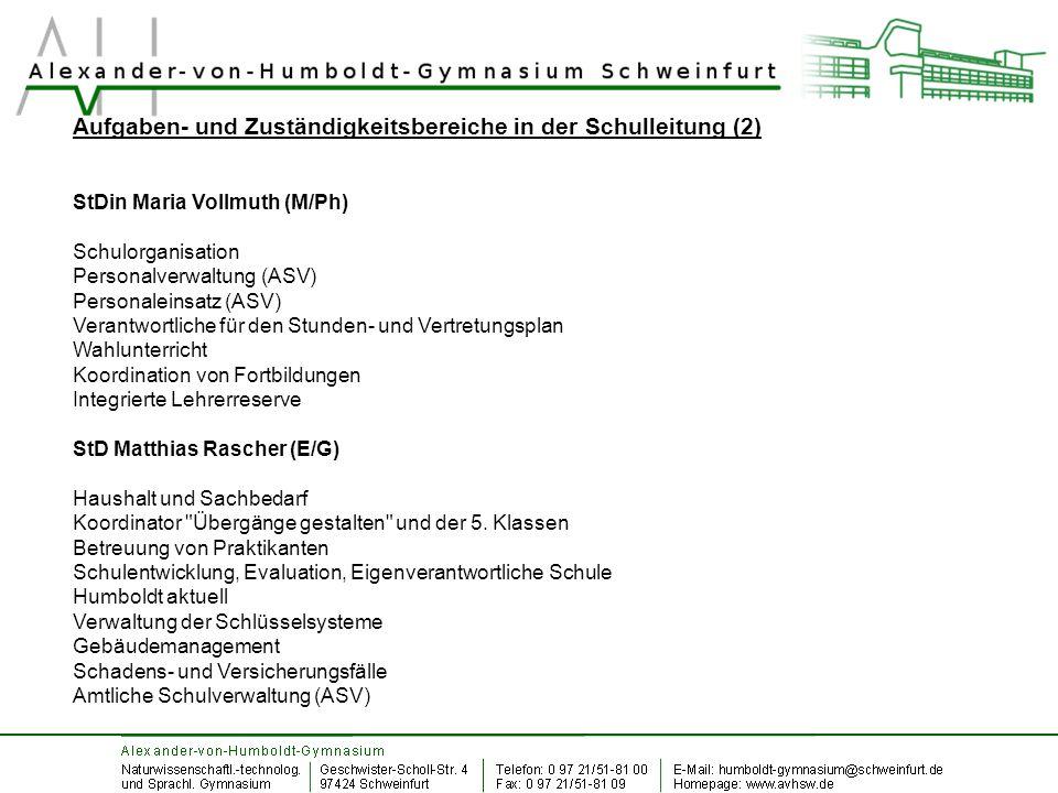 Aufgaben- und Zuständigkeitsbereiche in der Schulleitung (2)