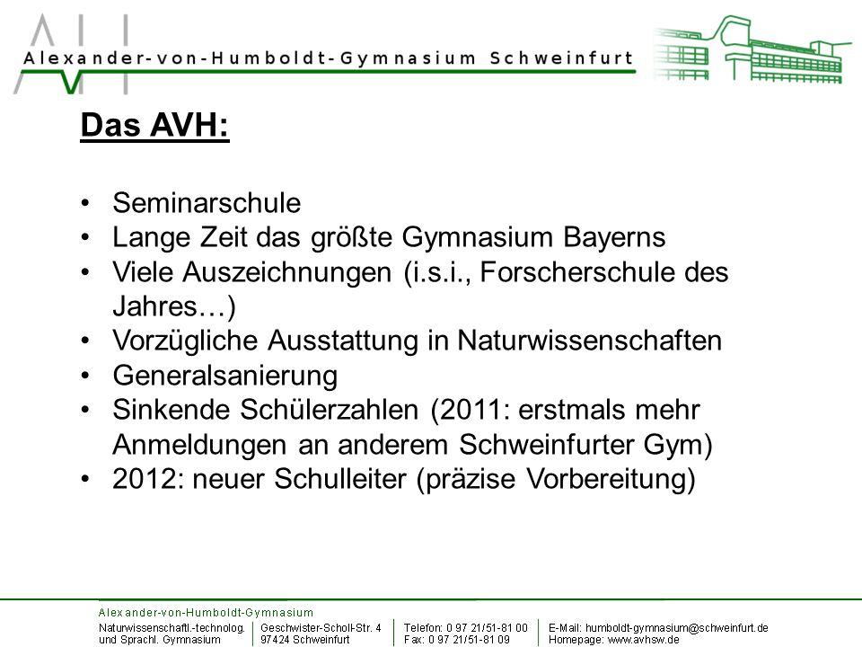 Das AVH: Seminarschule Lange Zeit das größte Gymnasium Bayerns