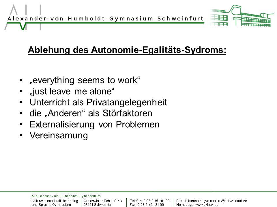 Ablehung des Autonomie-Egalitäts-Sydroms: