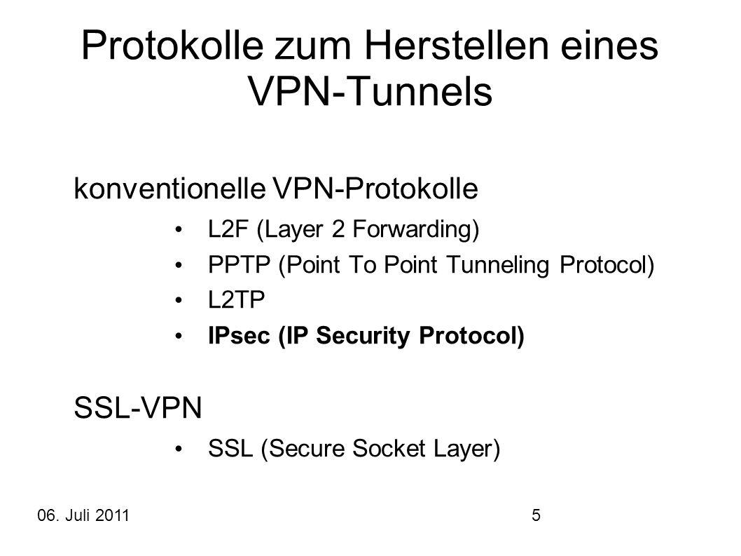 Protokolle zum Herstellen eines VPN-Tunnels