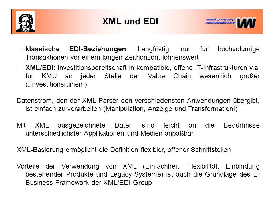XML und EDI  klassische EDI-Beziehungen: Langfristig, nur für hochvolumige Transaktionen vor einem langen Zeithorizont lohnenswert.