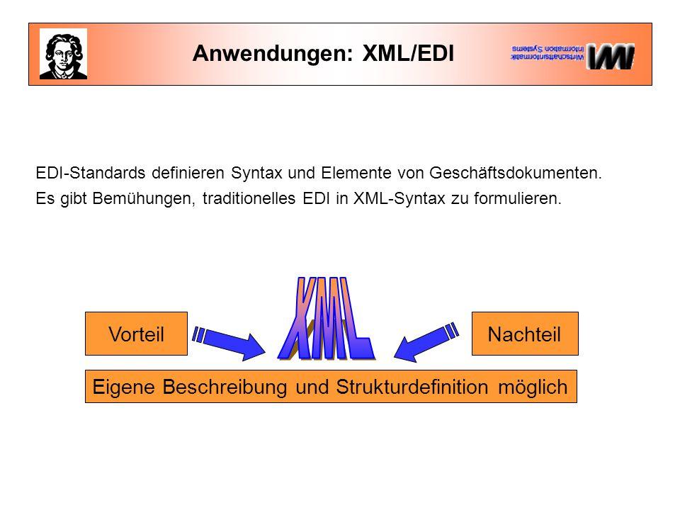 XML Anwendungen: XML/EDI Vorteil Nachteil