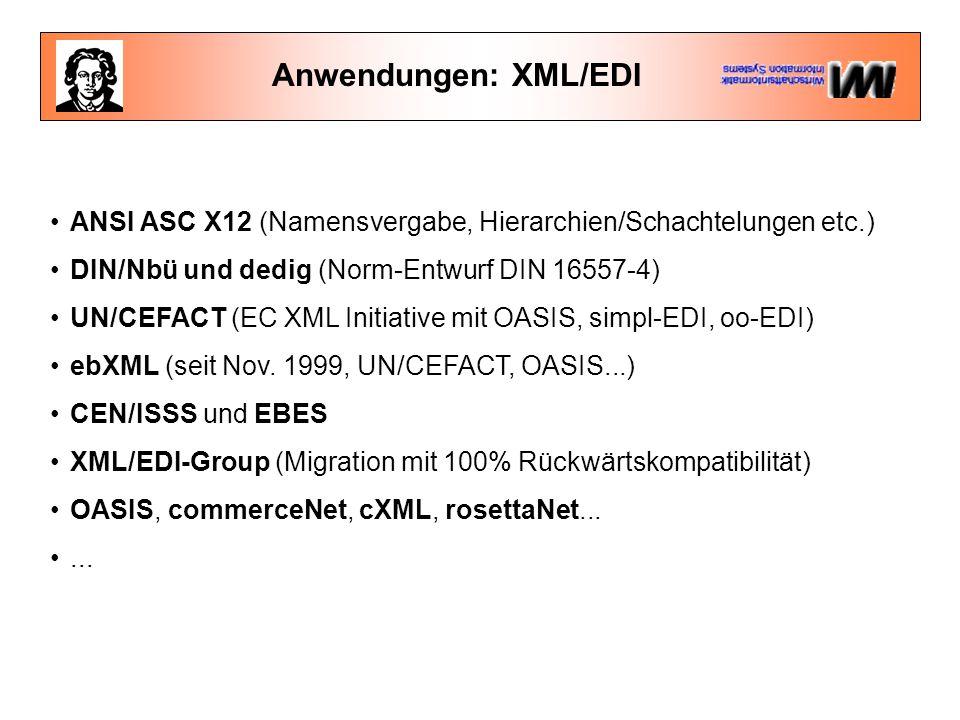 Anwendungen: XML/EDI ANSI ASC X12 (Namensvergabe, Hierarchien/Schachtelungen etc.) DIN/Nbü und dedig (Norm-Entwurf DIN 16557-4)