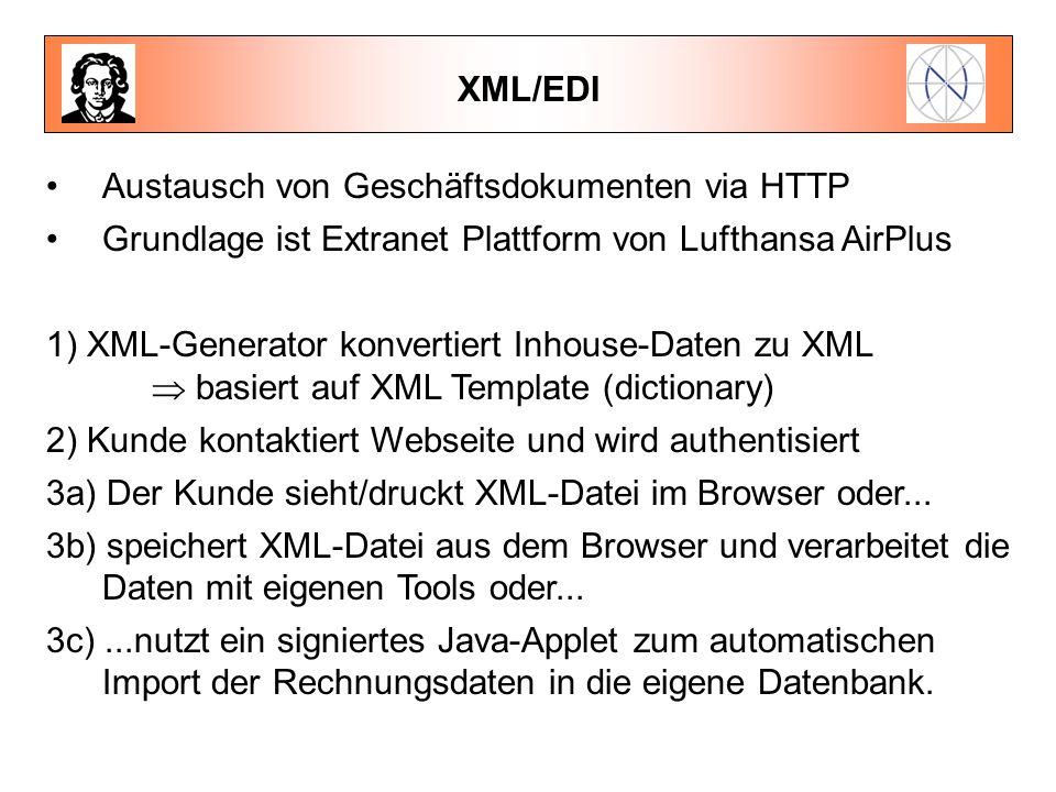 XML/EDI Austausch von Geschäftsdokumenten via HTTP. Grundlage ist Extranet Plattform von Lufthansa AirPlus.