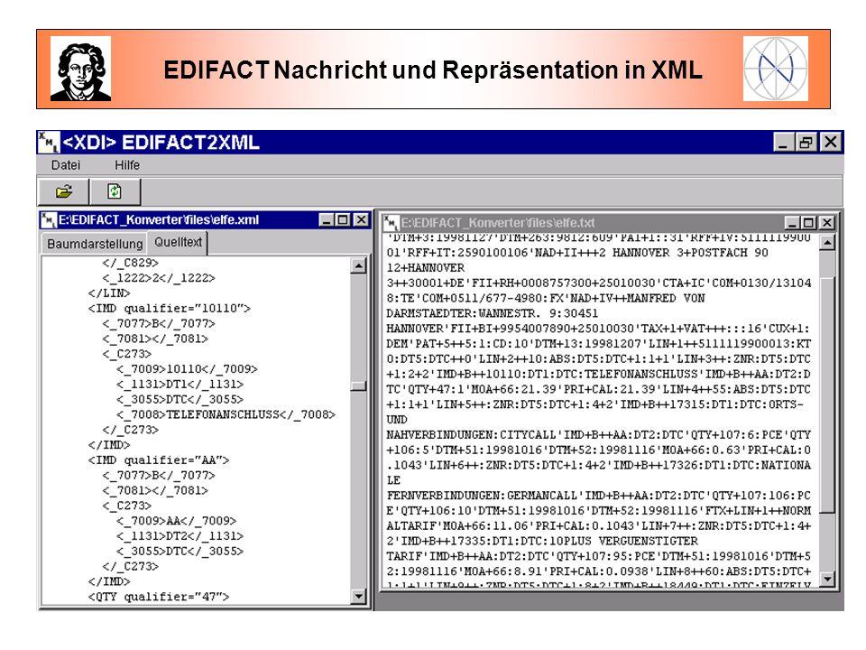 EDIFACT Nachricht und Repräsentation in XML