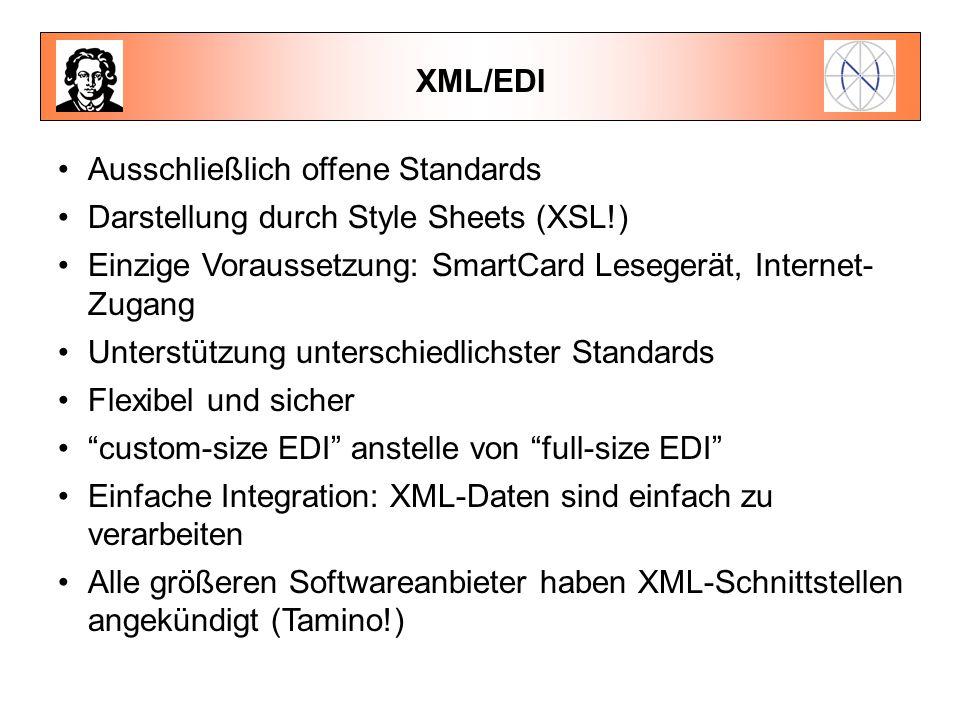 XML/EDI Ausschließlich offene Standards. Darstellung durch Style Sheets (XSL!) Einzige Voraussetzung: SmartCard Lesegerät, Internet-Zugang.