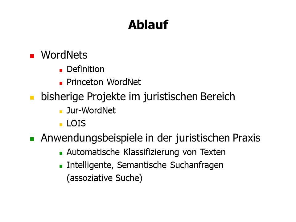 Ablauf WordNets bisherige Projekte im juristischen Bereich