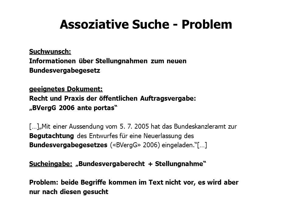 Assoziative Suche - Problem