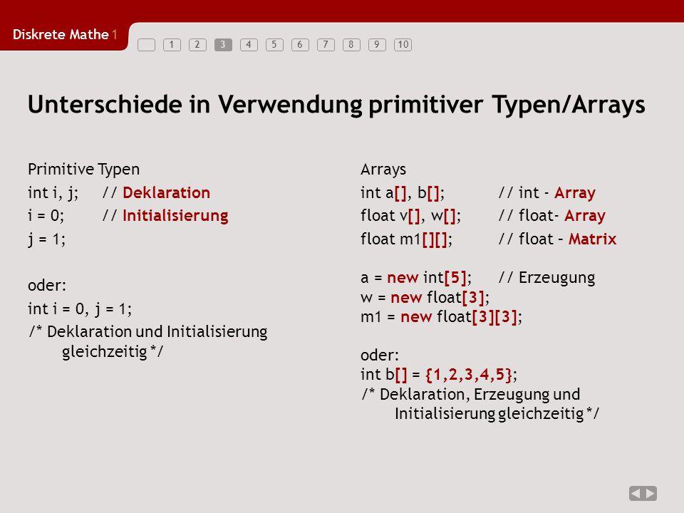 Unterschiede in Verwendung primitiver Typen/Arrays