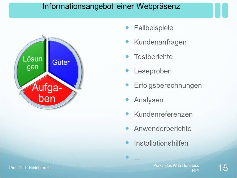 Aufga-ben Lösungen Informationsangebot einer Webpräsenz Güter