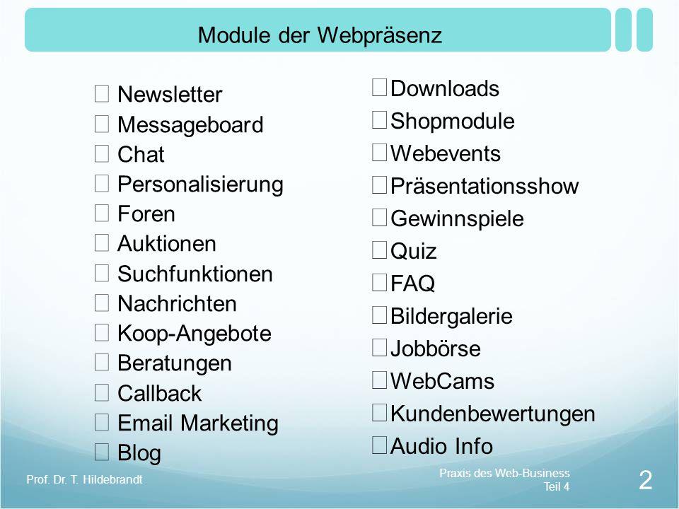 Module der Webpräsenz Downloads Newsletter Shopmodule Messageboard