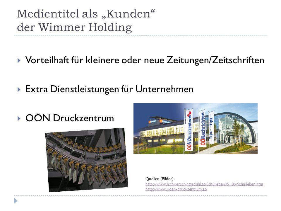 """Medientitel als """"Kunden der Wimmer Holding"""