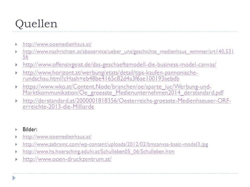 Quellen http://www.ooemedienhaus.at/ http://www.nachrichten.at/aboservice/ueber_uns/geschichte_medienhaus_wimmer/art140,531 56.