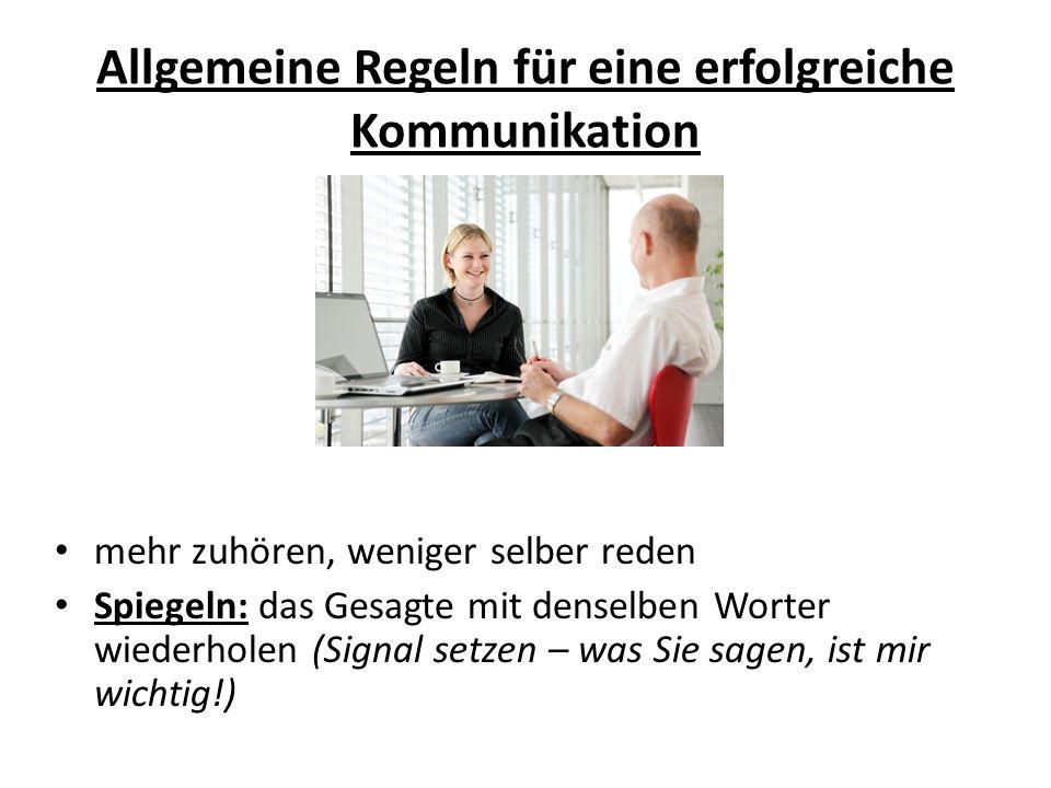 Allgemeine Regeln für eine erfolgreiche Kommunikation