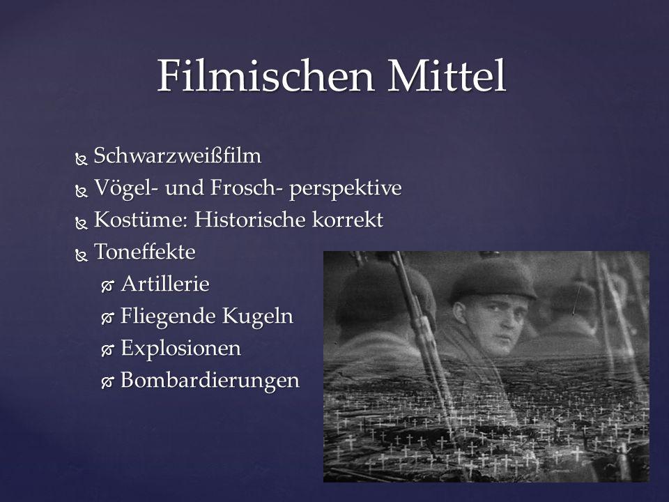 Filmischen Mittel Schwarzweißfilm Vögel- und Frosch- perspektive