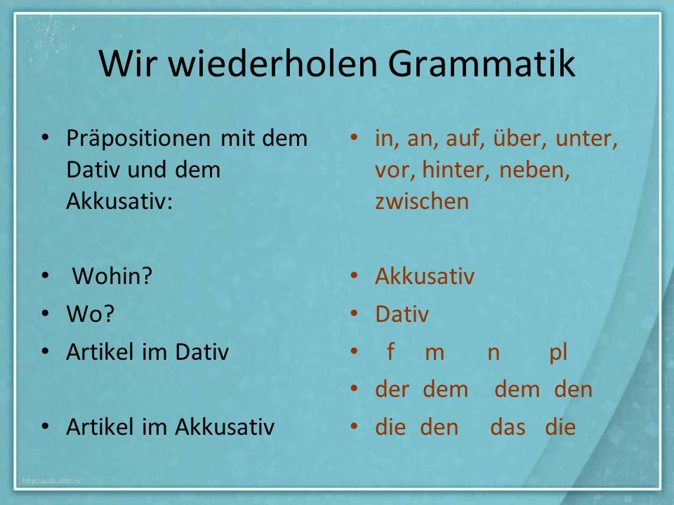 Wir wiederholen Grammatik
