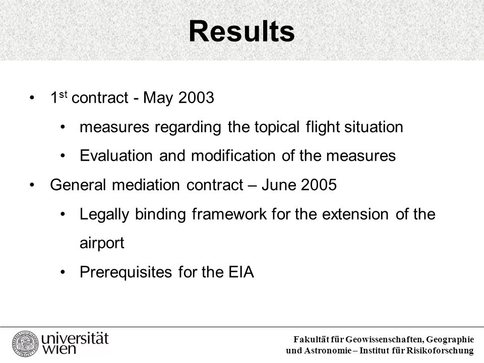 Results 1st contract - May 2003