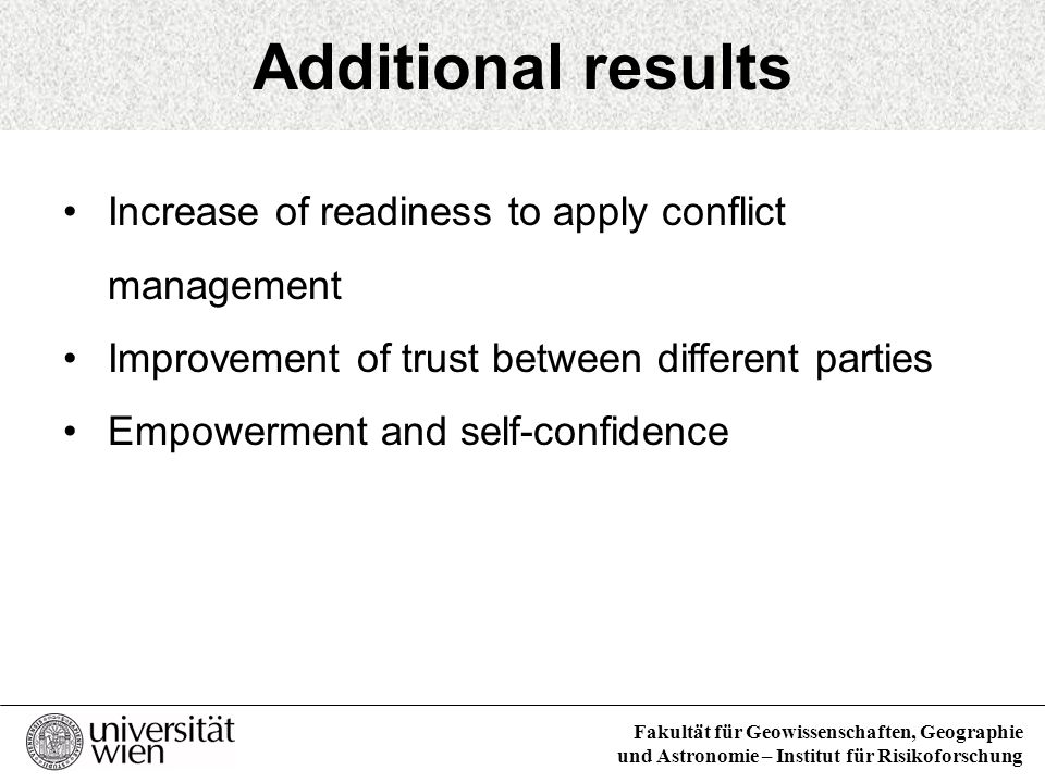 Additional results Increase of readiness to apply conflict management