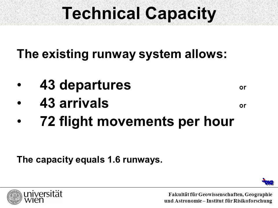 Technical Capacity 43 departures or 43 arrivals or