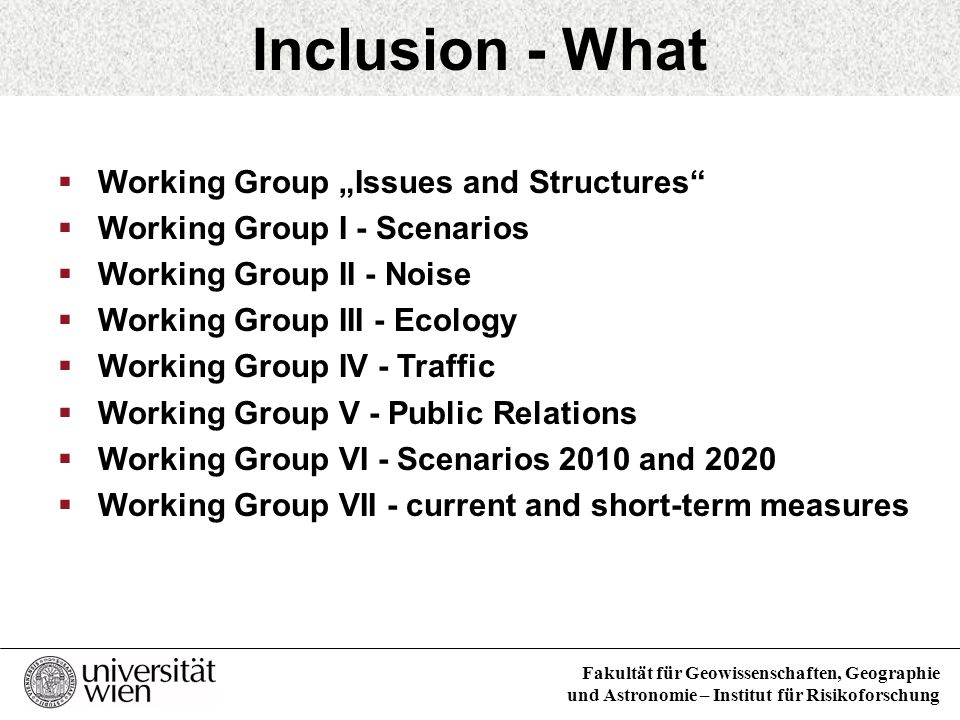 Working Groups and Committees