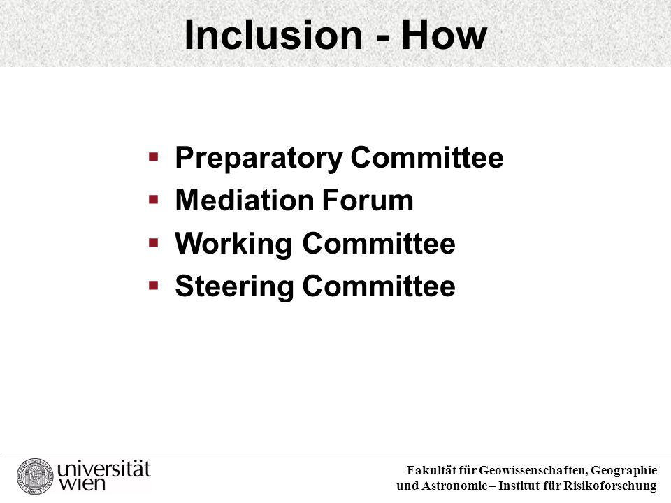Inclusion - How Preparatory Committee Mediation Forum
