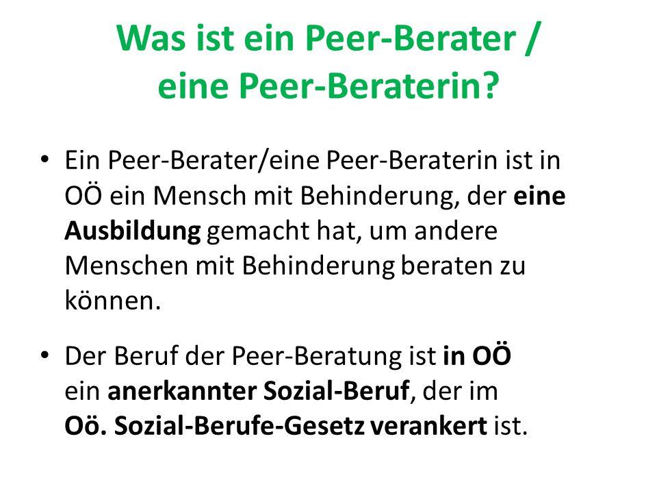 Was ist ein Peer-Berater / eine Peer-Beraterin