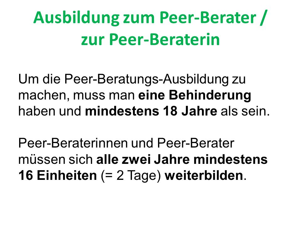 Ausbildung zum Peer-Berater / zur Peer-Beraterin