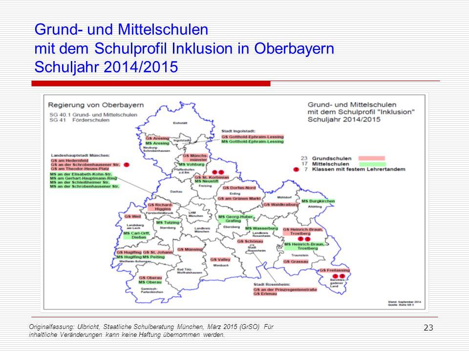 Grund- und Mittelschulen mit dem Schulprofil Inklusion in Oberbayern Schuljahr 2014/2015