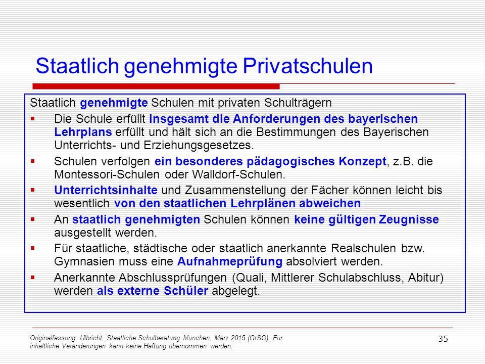 Staatlich genehmigte Privatschulen