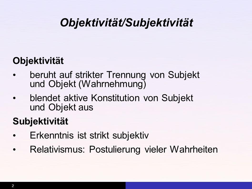Objektivität/Subjektivität