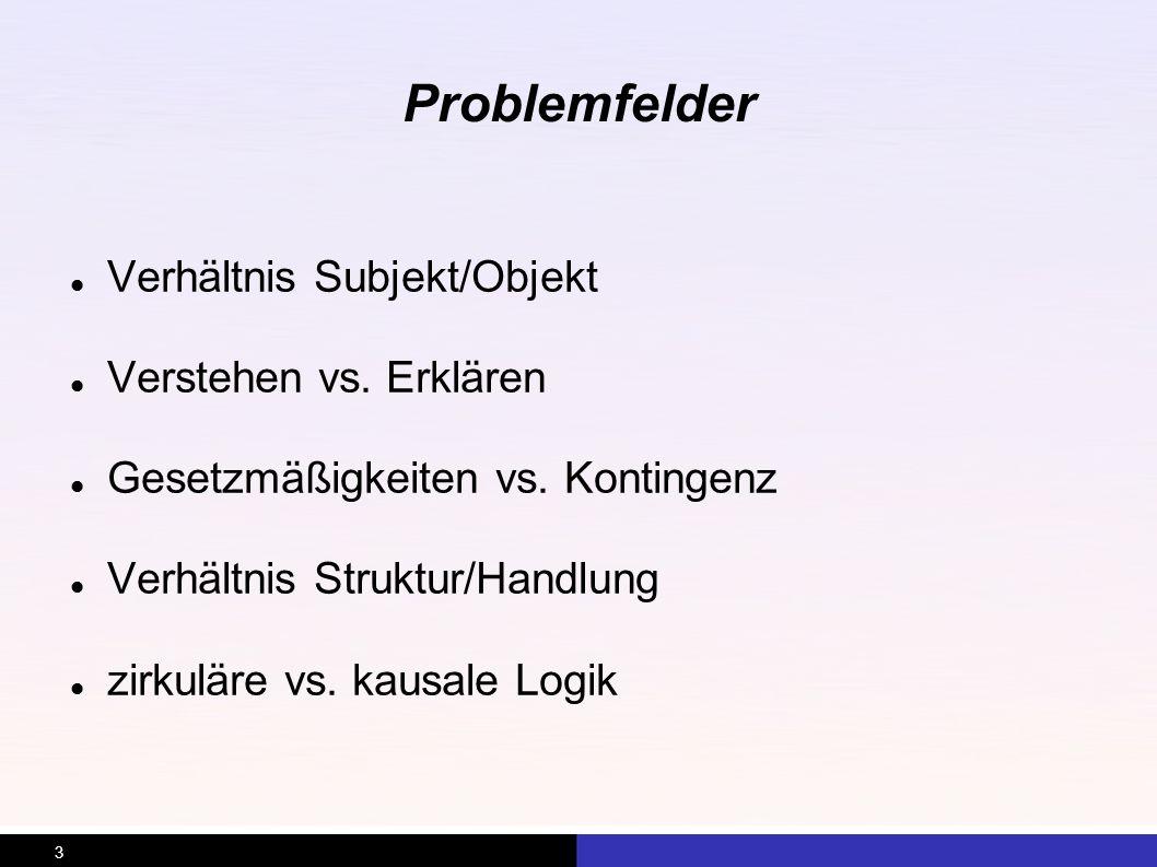 Problemfelder Verhältnis Subjekt/Objekt Verstehen vs. Erklären