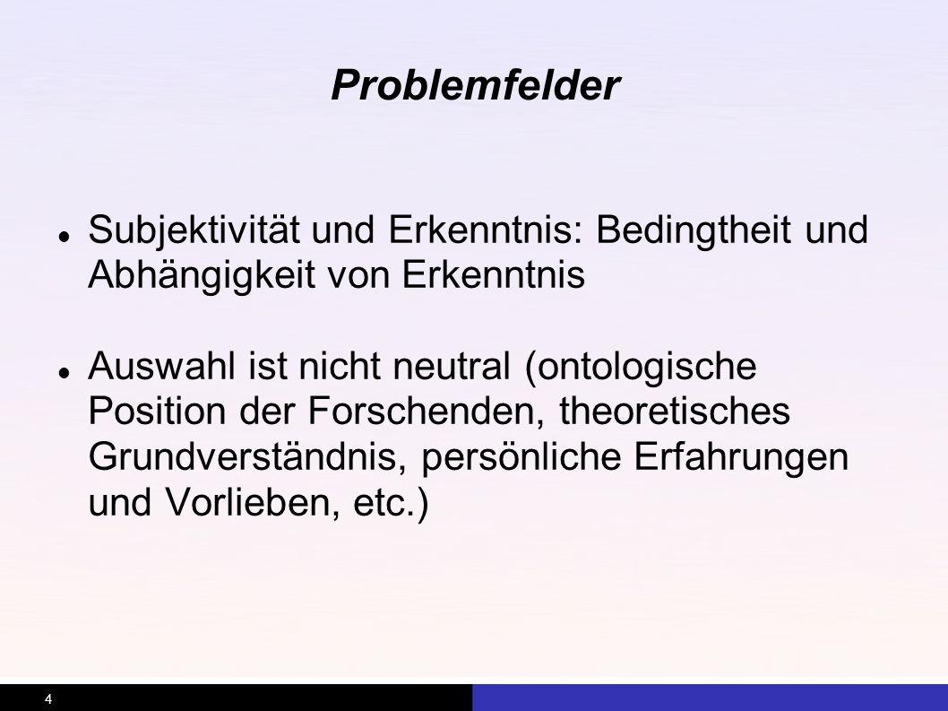 Problemfelder Subjektivität und Erkenntnis: Bedingtheit und Abhängigkeit von Erkenntnis.