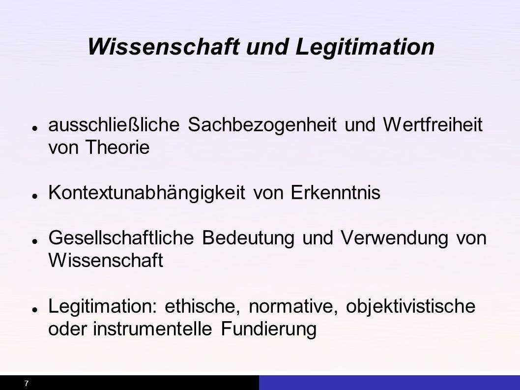 Wissenschaft und Legitimation