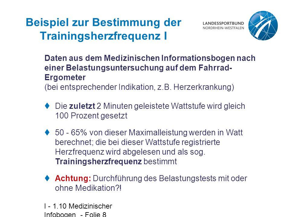 Beispiel zur Bestimmung der Trainingsherzfrequenz I