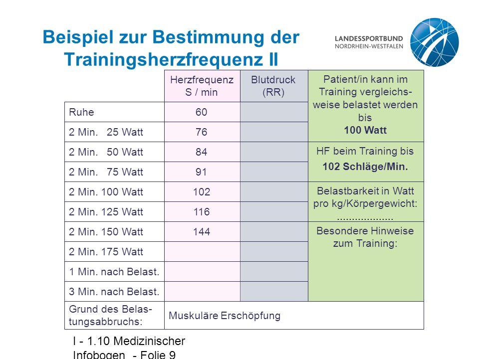 Beispiel zur Bestimmung der Trainingsherzfrequenz II