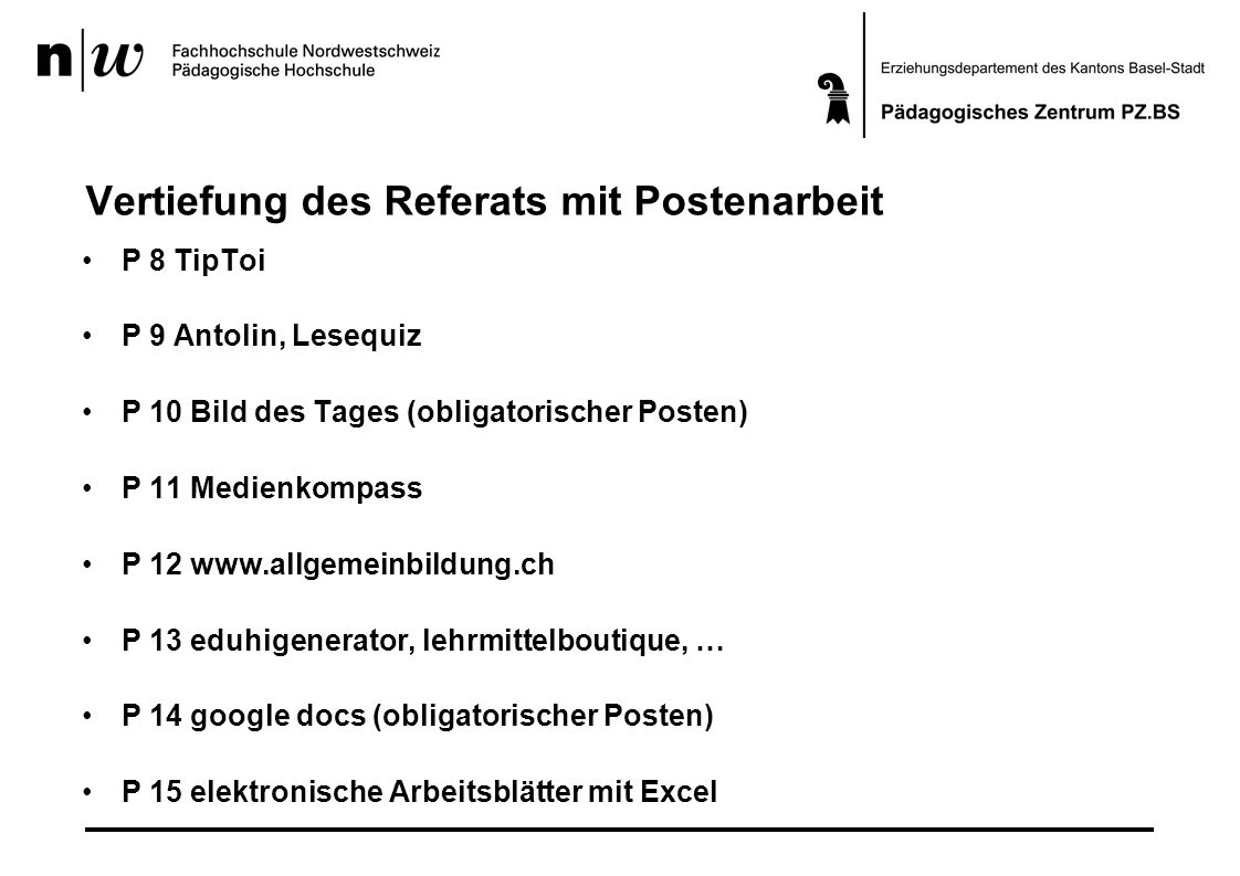 Vertiefung des Referats mit Postenarbeit