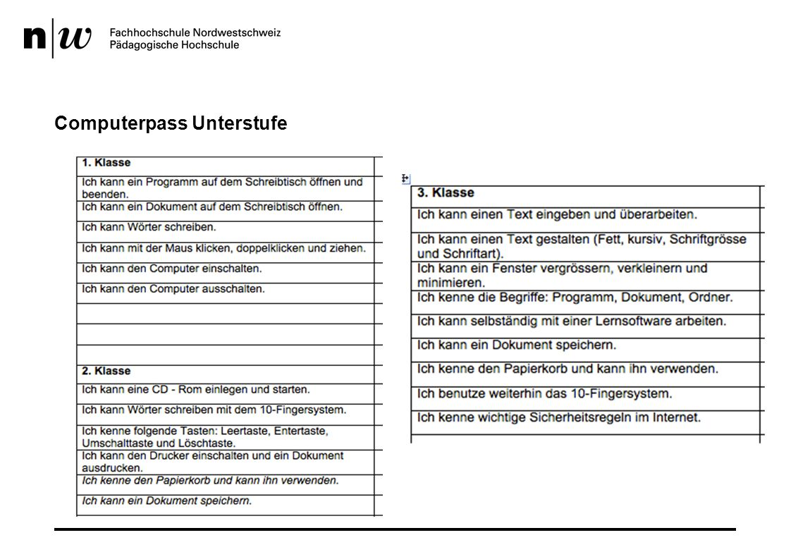Computerpass Unterstufe