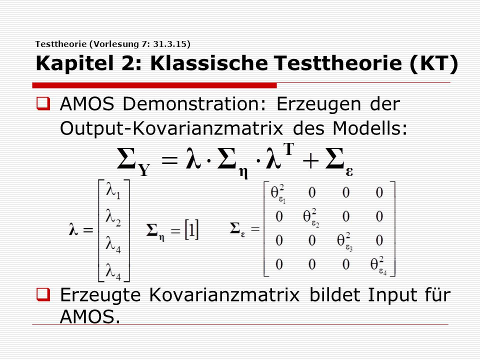 AMOS Demonstration: Erzeugen der Output-Kovarianzmatrix des Modells: