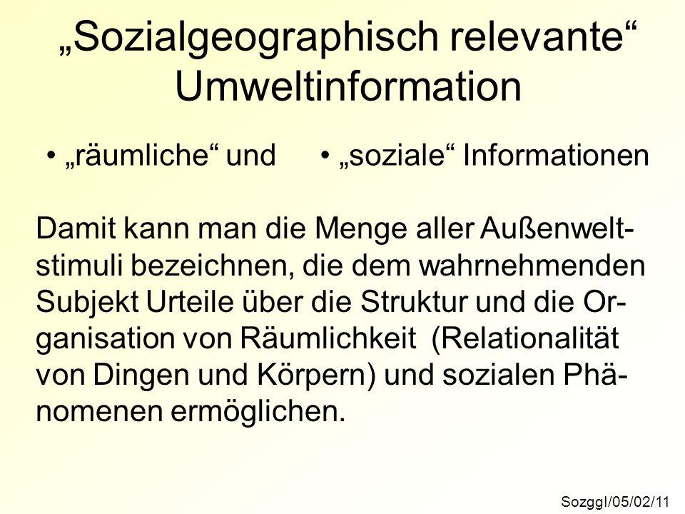"""""""Sozialgeographisch relevante Umweltinformation"""