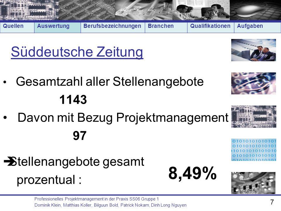 8,49% Süddeutsche Zeitung 1143 Davon mit Bezug Projektmanagement 97